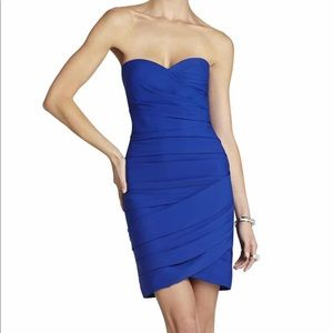 BCBC BLUE RUTCHED STRAPLESS COCKTAIL DRESS NWT